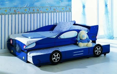 giường tầng cho bé trai màu xanh dương - giường ô tô hai tầng