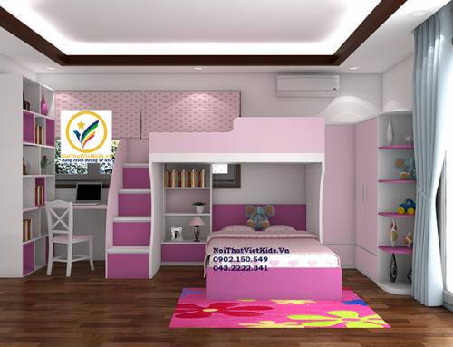 Thiết kế phòng ngủ bé gái biệt thự Ecopark