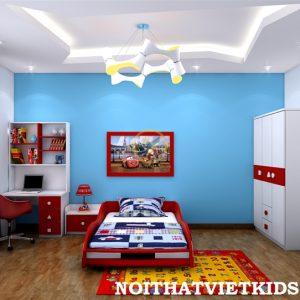 Phòng ngủ bé trai ô tô đỏ