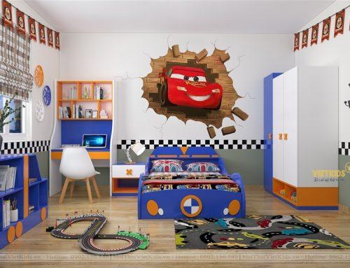 Bộ sưu tập phòng ngủ cho bé trai chủ đề ô tô